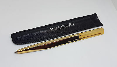 Mint Bvlgari Eccentric Gold Plated Ballpoint Pen With Leather Case