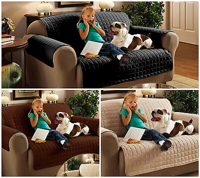 New! Waterproof Soil Snag Resistant SOFA ARM CHAIR Quilted Black Cover Protector
