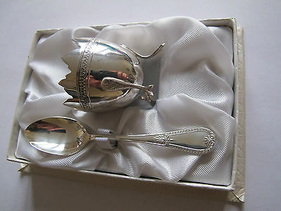 Vintage Boxed French Silver Plated Egg Cup And Spoon Christening/present Set