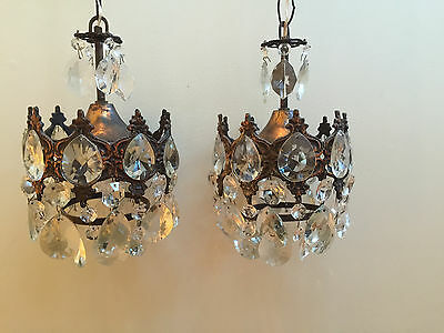 Pair Antique French Style Small Chandelier Lights Lead Crystal Lamp 1940's