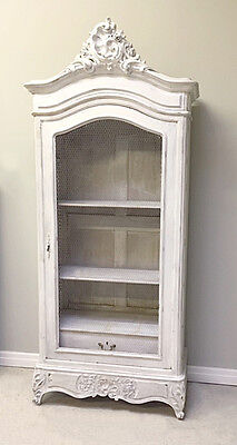 Superb French Antique Rococo Style  Painted Single Door Armoire