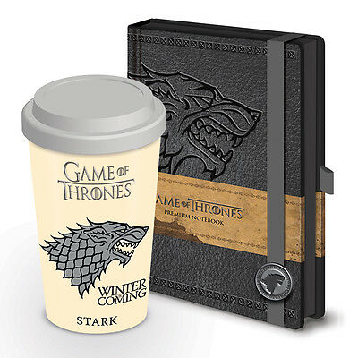 Game of Thrones House Stark Ceramic Travel Mug and A5 Notebook Gift Set
