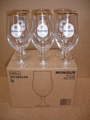 box of 6 KROMBACHER branded pint beer lager glass CE MARKED NEW