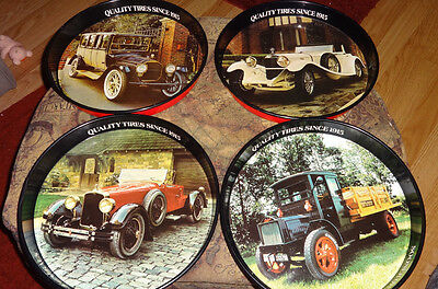 """Vintage General Tire Collectible 12""""Serving Tray 4pc vintage cars"""