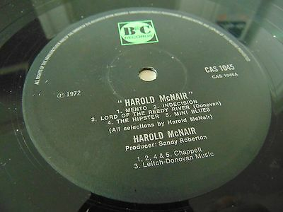 B&C Records Label LP Harold McNair Self Titled VINYL ONLY NO SLEEVE