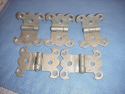 Antique Chrome / Nickel Plated Metal  Lot of 5 Matching Ice Box Hinges (?)