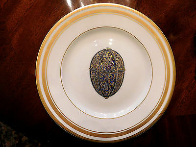 """Faberge Imperial Silver Anniversary Egg 8"""" Salad or Bread Plate with Gilt Decor"""