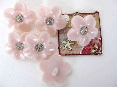 Vintage Rhinestone Buttons Pink Flowers With Pearl Finish Shank Austria