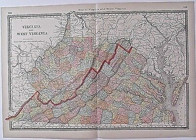 Authentic 1885 Hardesty's Map of Virginia and West Virginia.