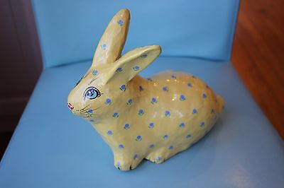 Vintage Papier Mache Easter Bunny Figure -Yellow 11' long and 6 high""