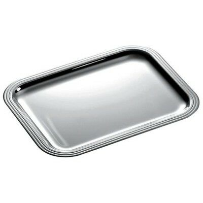 "Christofle Set of 2 Large Silverplated Rectangular ""Albi"" Trays #47977 14x11 In."