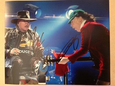 Axl Rose & Angus Young signed photo (GnR & AC/DC) genuine