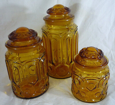 Set of 3 Vtg L. E. Smith Moon And Stars Amber Canisters Apothecary Jars
