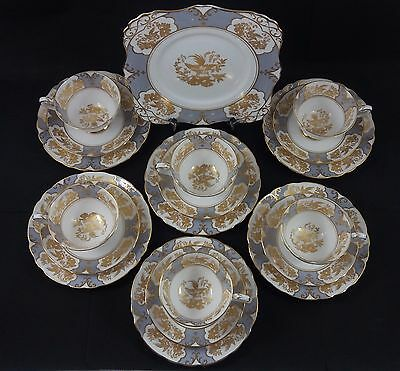 Tuscan English china teaset Celeste 6 Trios & cake plate. Stunning Gilded design