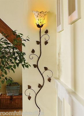 Electric Wall Sconce Flower Petals Vine Accent Lamp Light Flower Shade Fabric