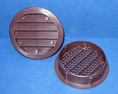 "Maurice Franklin Louver-3"" Round Brown Polypropylene Plastic Louver with Insect"