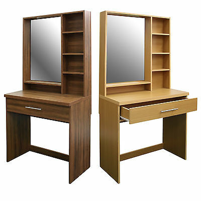 Vanity Dressing Table With Mirror and Drawer Dresser in Beech