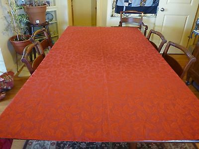 Christmas tablecloth Red Brocade w holly leaves