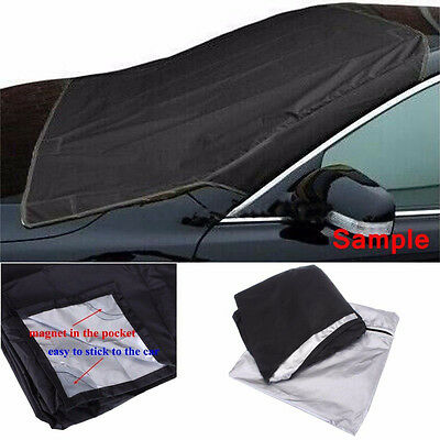 Car SUV Magnet Windshield Cover Sun Shield Snow Frost Freeze Protector Black wq
