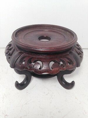 Vintage Carved Wood Chinese Oriental Plant Vase Bonsai Fishbowl Stand
