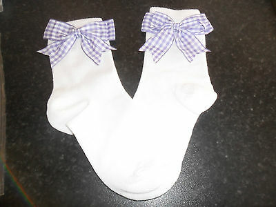 romany  girl SPANISH STYLE PURPLE CHECK bow BACK TO school  sock SIZE 6 - 8 1/2