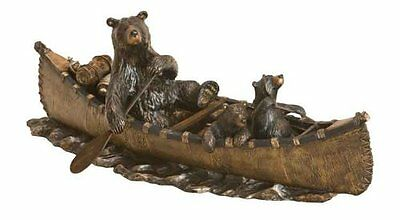 New Big Sky Carvers Bearfoots Bear Canoe Trip Cast Resin Brozne Sculpture 24""