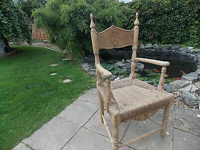 Antique Pine And Rush Castle Carver Chair