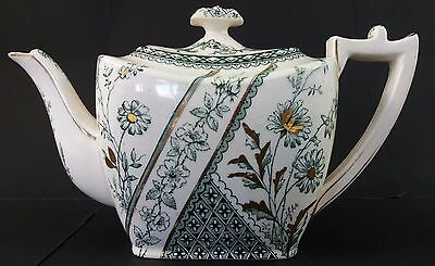 Antique Burgess & Leigh small cube Teapot, Colonial transfer print, Excellent !!