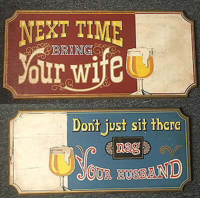 Lot 2 Vintage Wood Pabst Bar Signs Next Time Bring Your Wife Nag Your Husband