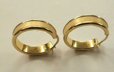 """Solid 18k Yellow Gold Milor Italy 1"""" Circle Post Hoop Earrings 6mm wide  2.9 gr"""