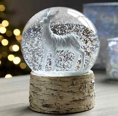 Christmas Snow Globe Deer Fawn Stag Birch Base Xmas Mantelpiece Home Decoration