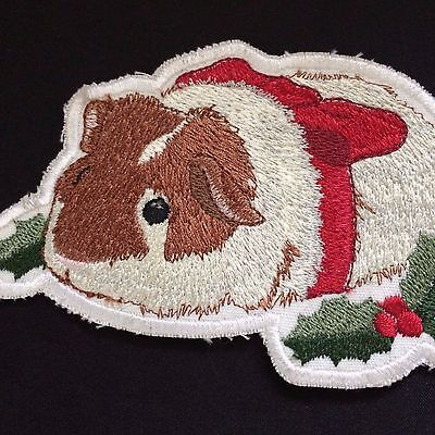 Christmas Guinea Pig -brown & white with red ribbon 5-inch embroidered patch NEW