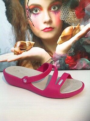 Women's Crocs Patricia Low Wedge  Raspberry/Oyster Sandals-Uk 5