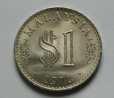 1971 MALAYSIA Coin - 1 Ringgit - AU+ toned-lustre - marks - edge lettering