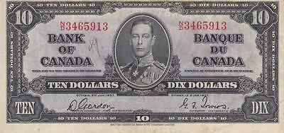 CANADA 10 DOLLAR 1937 (P-61b) BANK NOTE - LOW STAR, NO RESERVE