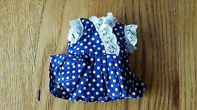 "Vintage Skipper Size/For 9"" Dolls Clothes - Blue & White Polka Lace Trim Dress"