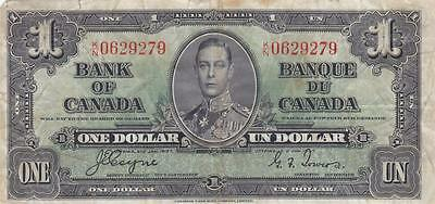 CANADA 1 DOLLAR 1937 (P-58e) BANK NOTE - LOW START, NO RESERVE