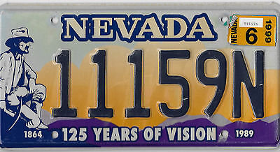 Authentic 1999 Nevada 150 Years Of Vision Miner Graphic License Plate # 11159N
