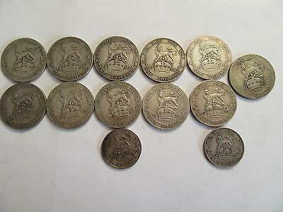 Lot of 13 Great Britain Silver Coins mixed denominations, dated btwn 1902 & 1917