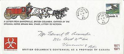 1971 BC's Centennial Letter From Barkerville Carried By Original Mail Stage