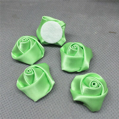 10pcs Apple green Satin Ribbon Rose Flower DIY Craft Wedding Appliques Lots