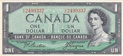 CANADA 1  DOLLAR 1955-61 (P-74a) BANK NOTE - LOW START, NO RESERVE