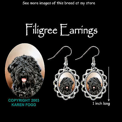 BOUVIER DES FLANDRES DOG Natural Ears - SILVER FILIGREE EARRINGS Jewelry
