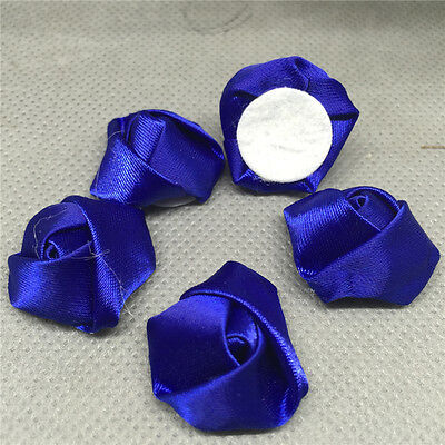 10pcs deep blue Satin Ribbon Rose Flower DIY Craft Wedding Appliques Lots
