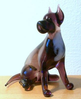 """Hand Blown """"murano"""" Glass Collectable Sitting Staffordshire Terrier Dog Figurine"""