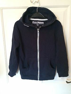 Boys Rebel Navy Blue Zip Up Hoodie Hooded Top Age 7-8 Years