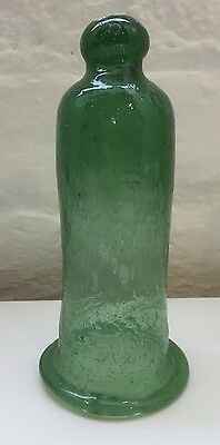 Early Victorian Candle Snuffer Bell Green Blown Glass Rare !