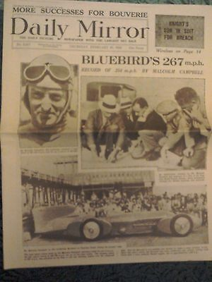 Daily Mirror NEWSPAPER-Feb 25th 1932-Land Speed Record Bluebird Malcolm Campbell