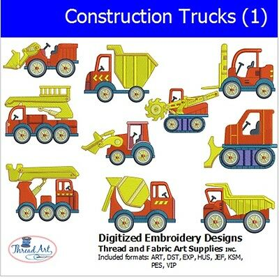 Machine Embroidery Designs - Construction Trucks(1) - 10  designs  - 9 Formats