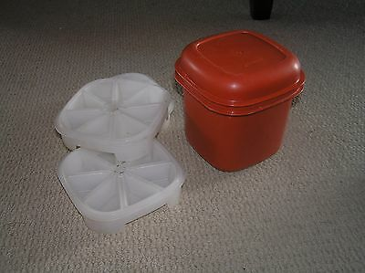 Vintage Tupperware Ice Cube Container and 3 Ice Trays